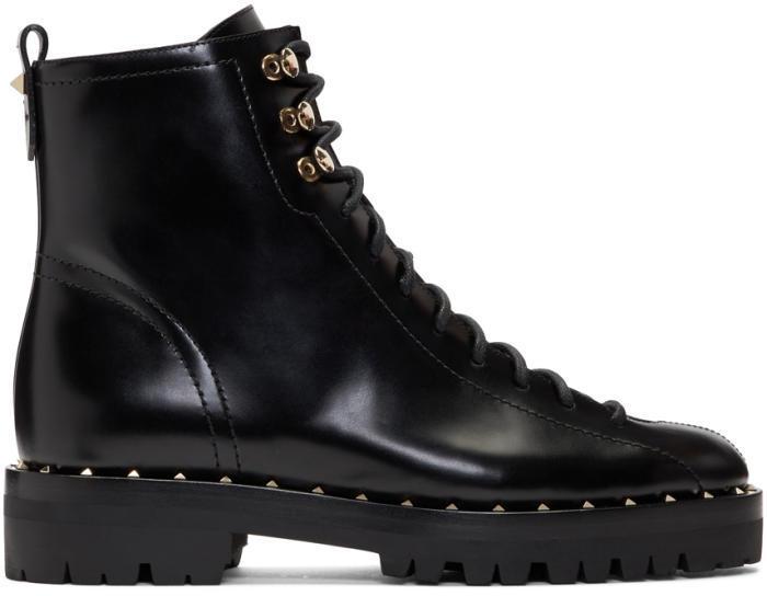 Valentino Black Valentino Garavani Soul Rockstud Combat Boots