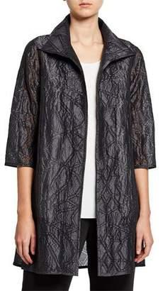 Caroline Rose Plus Size Equinox Geometric Jacquard 3/4-Sleeve Topper Jacket