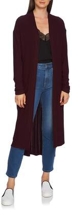 1 STATE 1.STATE Ruched Sleeve Space Dye Long Cardigan