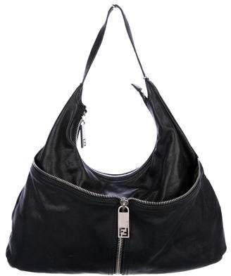 Fendi Leather Front Zip Hobo