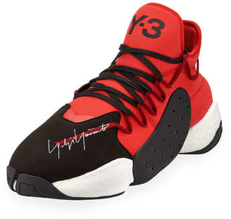 Y-3 Men's BYW Leather/Textile Basketball Trainer Sneakers, Red