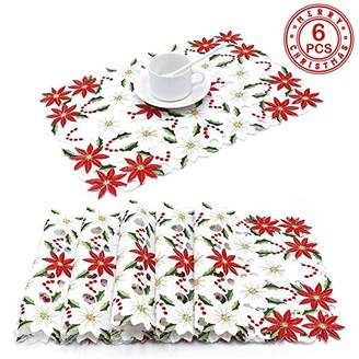 PartyTalk 6pcs Embroidered Christmas Table Placemats