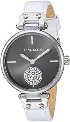 Anne Klein Women's AK/3381GYWT Swarovski Crystal Accented Silver-Tone and White Leather Strap Watch