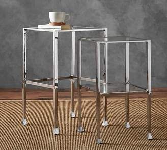 Pottery Barn Tanner Nesting Tables, Polished Nickel