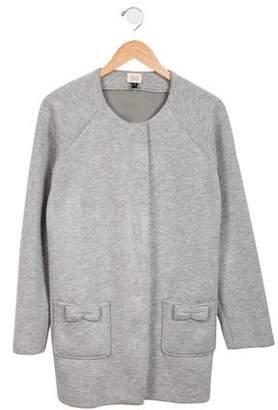 Armani Junior Girls' Collarless Knit Coat