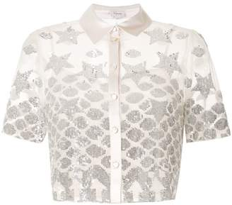 Temperley London sheer sequin embroidered shirt