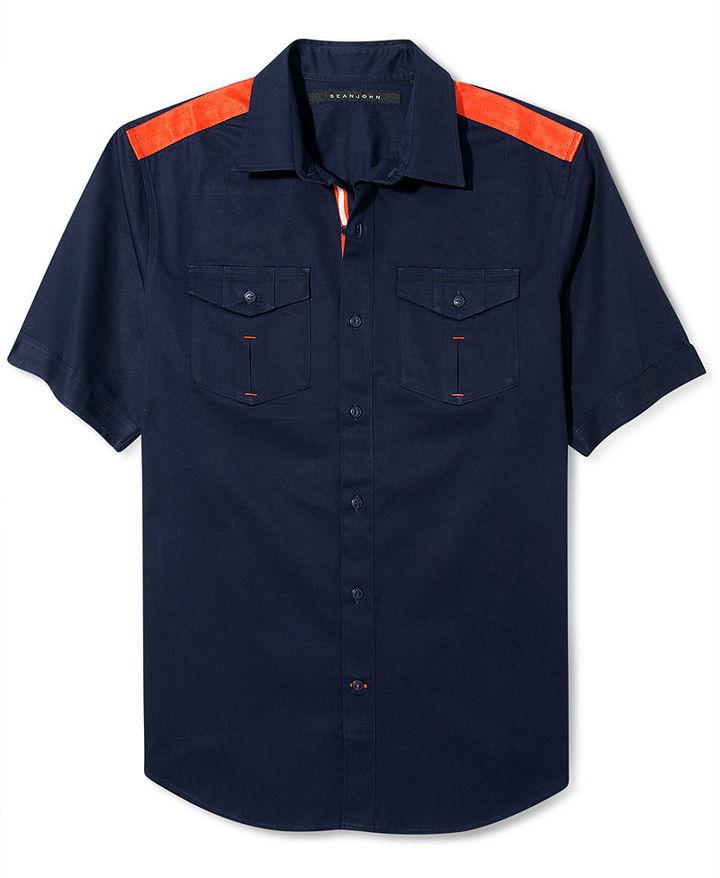 Sean John Big and Tall Shirt, Colorblocked Short Sleeve Shirt