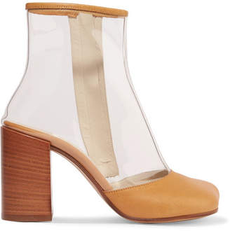MM6 MAISON MARGIELA Leather-trimmed Pvc Ankle Boots - Beige