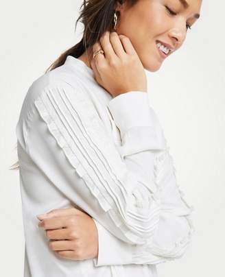 Ann Taylor Pintucked Ruffle Sleeve Blouse