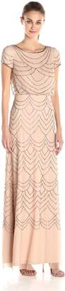 Adrianna Papell Women's Short Sleeve Blouson Beaded Gown, Taupe/Pink