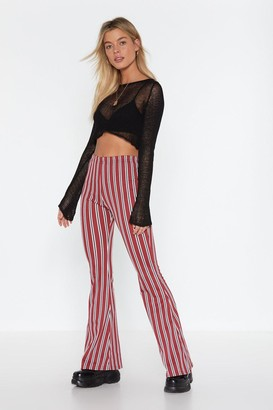 Nasty Gal If You Even Flare Striped Trousers