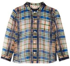 Marni Checked Cotton-Organza Shirt