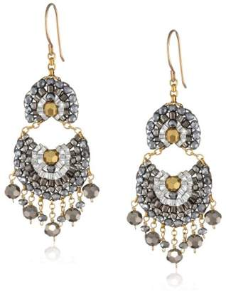 Miguel Ases Pyrite and Gold-Filled Fan Multi-Drop Earrings