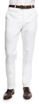 Zanella Parker Cotton-Stretch Flat-Front Trousers, White $325 thestylecure.com