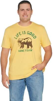Life is Good Men's Crusher Gone Fishing Bear Tee