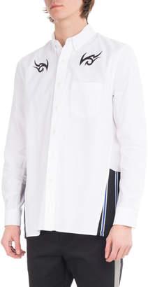 Palm Angels Cotton Oxford Shirt with Patchwork Hem, White/Black