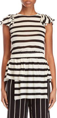 Alysi Stripe Ruffled Tunic Top