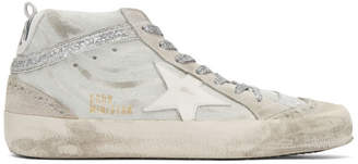 Golden Goose White and Grey Mid Star Sneakers