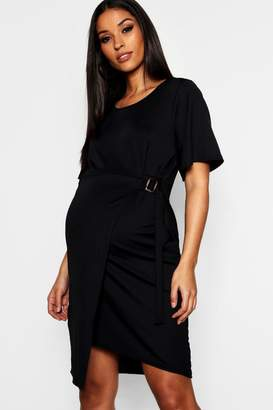boohoo Maternity Mock Horn Ring Wrap Dress