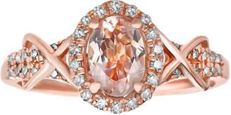 FINE JEWELRY 1/4 CT. T.W. Diamond and Genuine Morganite 10K Rose Gold Ring
