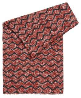 HUGO BOSS Patterned scarf fringed edge One Size Open Red