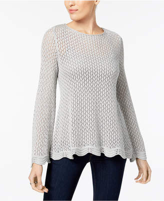 Style&Co. Style & Co Petite Open-Knit Boat-Neck Sweater, Created for Macy's