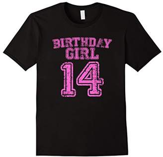 14th Birthday Sports Jersey T Shirt - 14 Year Old Girl Pink