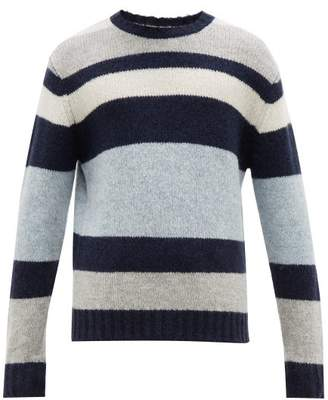Allude Striped Ribbed Trim Sweater - Mens - Grey Multi