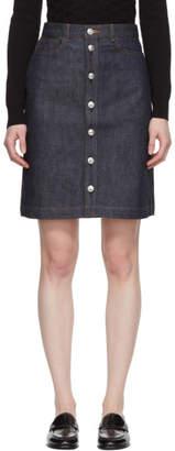 A.P.C. Indigo Theresa Button-Up Skirt