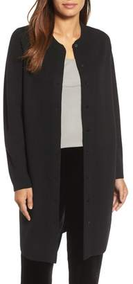 Eileen Fisher Mandarin Collar Merino Wool Cardigan