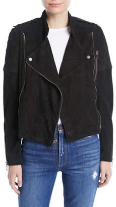 Alice + Olivia Miles Suede Quilted Zip Moto Jacket
