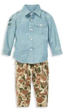 Ralph Lauren Baby Boy's Two-Piece Chambray Collared Shirt& Camouflage Cotton Twill Jogger Pants Set