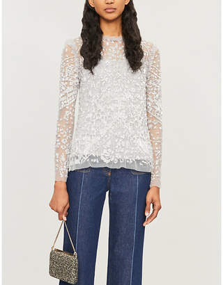 NEEDLE AND THREAD Aurora floral-embroidery tulle top