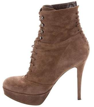 Gianvito Rossi Suede Lace-Up Boots