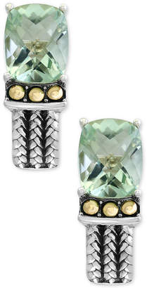 Effy Prasiolite Two-Tone Woven-Look Drop Earrings (6-1/10 ct. t.w.) in Sterling Silver and 18k Gold