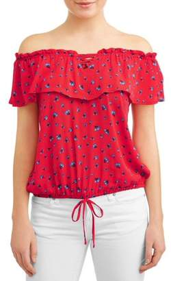 Moral Fiber Juniors' Ditsy Floral Print Ruffle Flouce Off the Shoulder Blouse