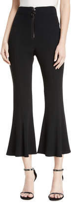 Cushnie et Ochs High-Waist Cropped Flare Pants w/ Dual Zip