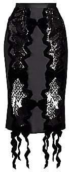 Erdem Women's Embellished Bow-Trimmed Satin Midi Skirt