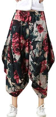 Shaoyao Womens Bohemian Elastic Waist Wide Leg Pants Plus Size Capris Palazzo Trousers Hippy Boho Style 8