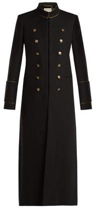 Saint Laurent Doouble Breasted Wool Military Coat - Womens - Black