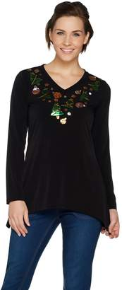 Factory Quacker Holly Jolly Sequin Trapeze Hem Jersey Knit Top