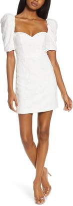Fame & Partners Structured Lace Puff Sleeve Minidress
