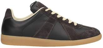 Maison Margiela Sneakers Replica In Black And Brown Leather And Suede