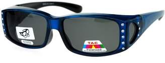 SA106 Womens Rhinestone Polarized Lens Rectangular 60mm Fit Over Sunglasses