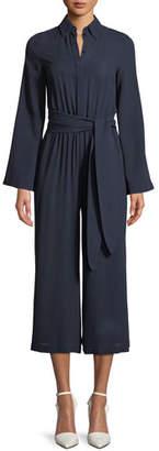 Michael Kors Silk Georgette Long-Sleeve Wide-Leg Belted Jumpsuit