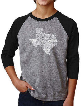 The Great LOS ANGELES POP ART Los Angeles Pop Art Boy's Raglan Baseball Word ArtT-shirt State of Texas