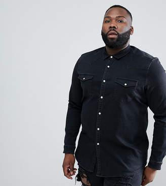 Asos Design DESIGN Plus stretch slim denim western shirt in black