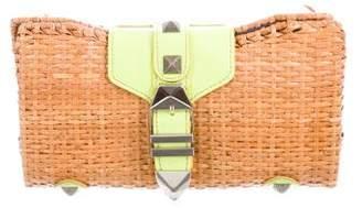 Rebecca Minkoff Patent Leather-Trimmed Wicker Clutch