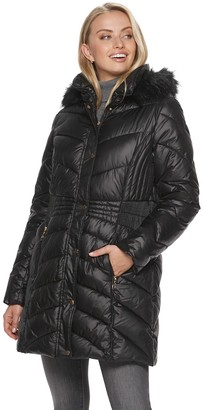 Gallery Women's Faux-Fur Trim Hooded Quilted Coat