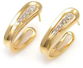 14k Yellow Gold Round Cut 0.11ct. Diamond Hoop Stud Earrings
